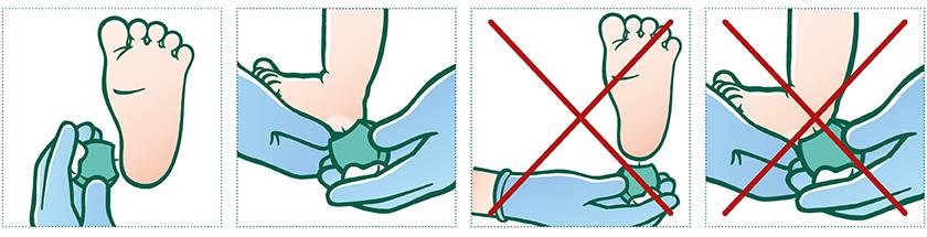 Stik det helt rigtige sted.  Brug en lancet til at stikke med. Stikket skal foretages på en af siderne af hælen i det bløde område lige over fodsålen. Det skal være under 3 mm dybt. Stik aldrig bag på hælen eller i nærheden af barnets ankelknogler.